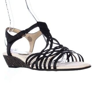Easy Spirit Malawi Espadrille Wedge Strappy Sandals, Black Multi