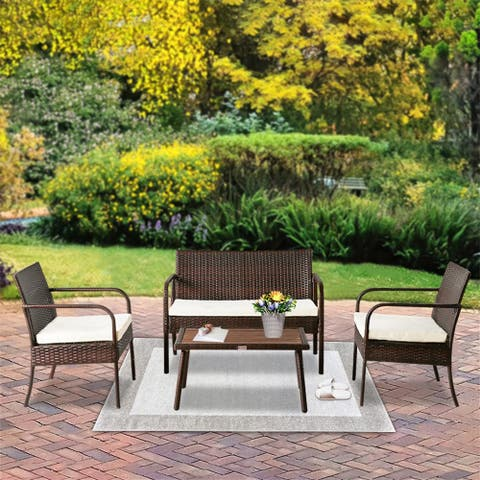 OSHION Outdoor Leisure Rattan Furniture Rattan Chair Small Four-piece
