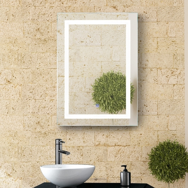 """HomCom Vertical 28"""" LED Illuminated Bathroom Wall Mirror - Outline LEDs - Silver. Opens flyout."""