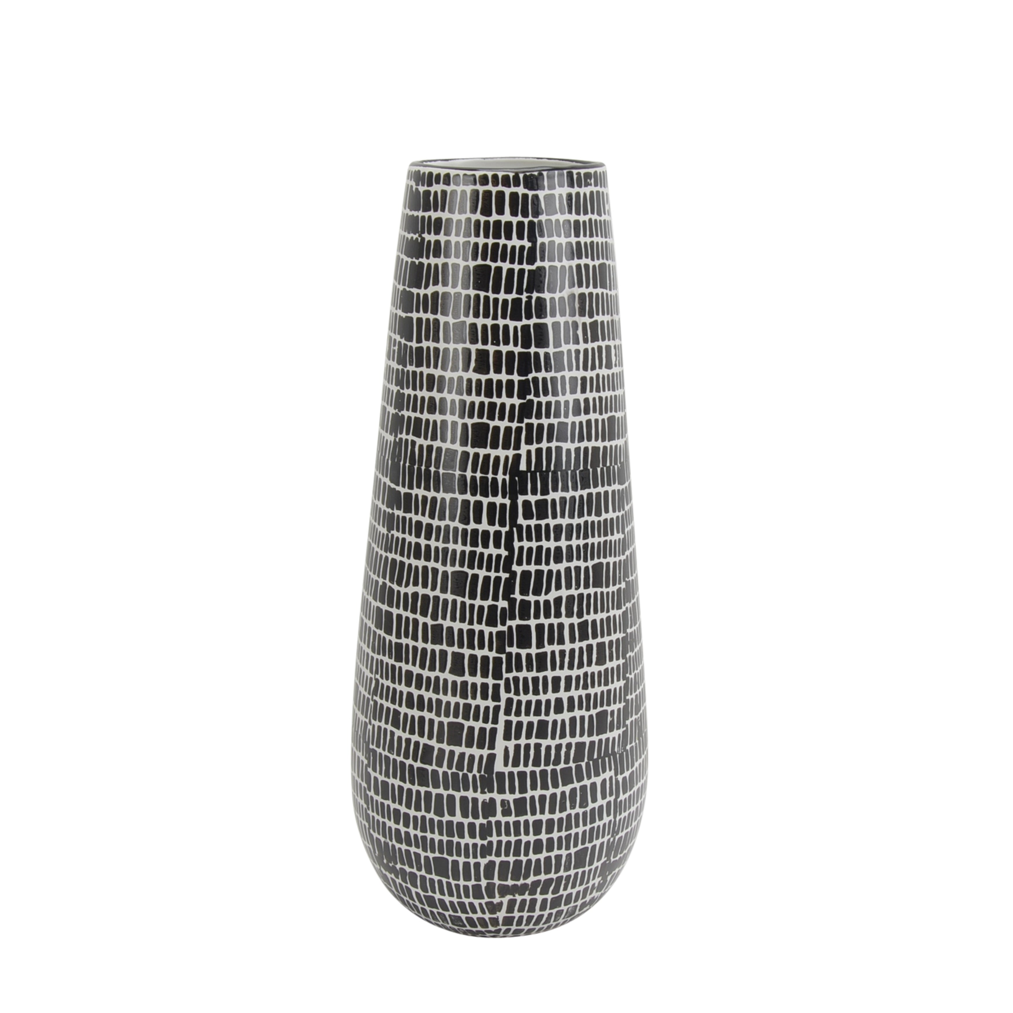 Ceramic Vase with Cobble Pattern Design and Curved Base, White and Black