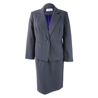 Le Suit Women's Plus Size Three-Piece One-Button Skirt Suit - ash/regal - 18W