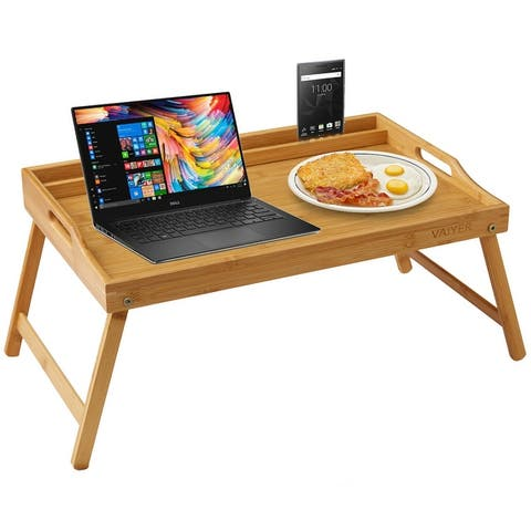 Vaiyer Home Bamboo Breakfast Bed Lap Tray Laptop Desk with Media, Phone Holder, and Foldable Legs, For Sofa, Bed, Snack Tray