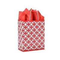 "Pack Of 25, Carrier 10 x 5 x 13"" Red Geo Graphics Recycled Paper Shopping Bag W/White Paper Twist Handles"