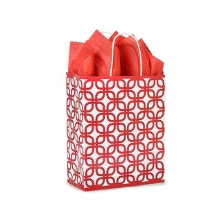 """Pack Of 250, Carrier 10 x 5 x 13"""" Red Geo Graphics Recycled Paper Shopping Bag W/White Paper Twist Handles"""