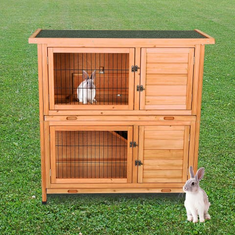 CO-Z 2-Tier Waterproof Outdoor Wooden Bunny Hutch Guinea Pig House with Ramp - Natural Wood