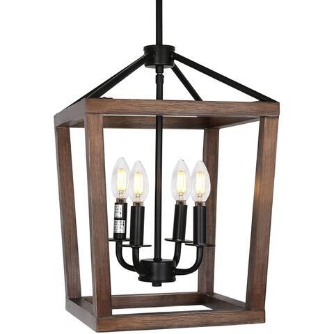 4 light rust adjustable chandelier wooden pendant light.