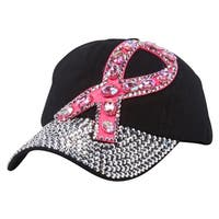 Top Headwear Breast Cancer Awareness Studded Pink Ribbon Baseball Cap - One size