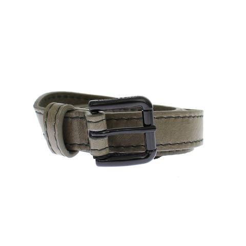 Dolce & Gabbana Gray Leather Black Buckle Logo Women's Belt