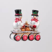 "4.75"" David Strand Designs Glass Snowmen on Railroad Handcar Christmas Ornament"