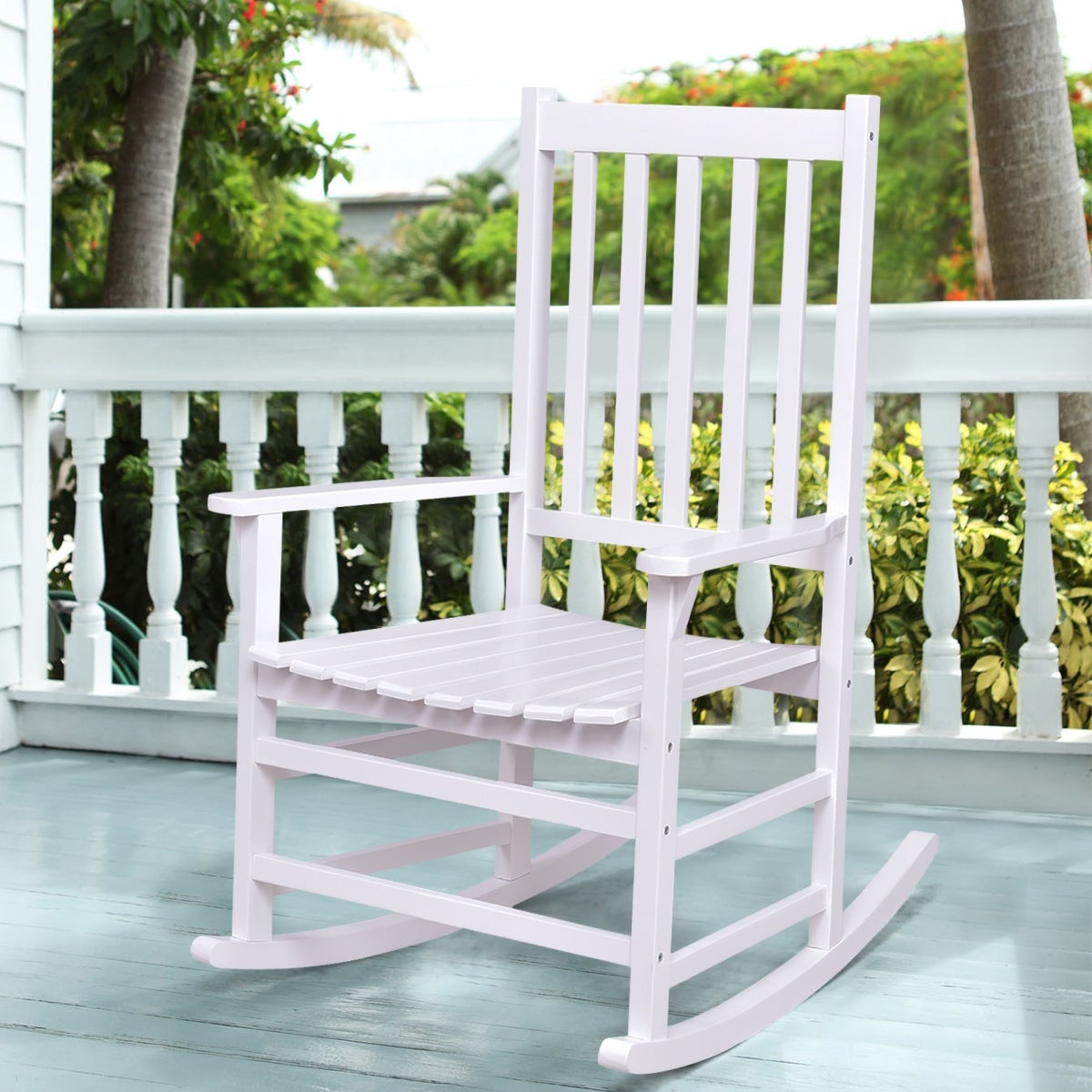 White Outdoor Patio Furniture.Costway Solid Wood Rocking Chair Rocker Porch Indoor Outdoor Patio Furniture White Single