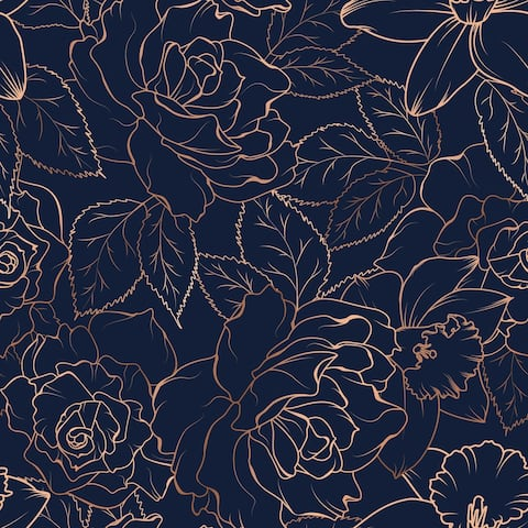 Dark Navy Blue Daffodil Blossom Peonies Removable Wallpaper - 24'' inch x 10'ft