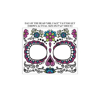 Women's Day Of Dead Face Tattoos, Temporary Face Tattoos - As Shown - One Size Fits Most