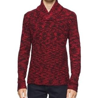 Calvin Klein NEW Red Mens XL Asymetric Cable-Knit Shawl-Collar Sweater