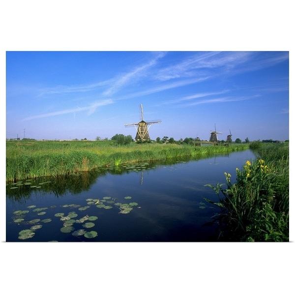 """""""Windmills, Kinderdijk, Zuid, Holland"""" Poster Print"""