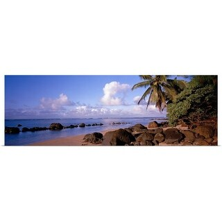 """Rocks on the beach, Anini Beach, Kauai, Hawaii"" Poster Print"