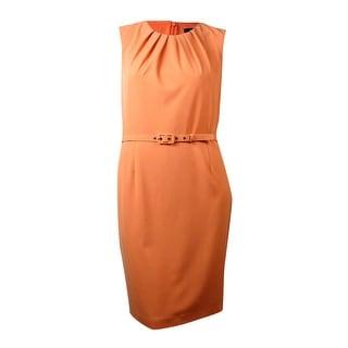 Nine West Women's Belted Pleated Sheath Dress - 4