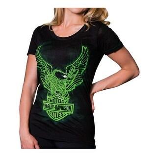 Harley-Davidson Women's Radioactive Short Sleeve Round Neck Tee, Black