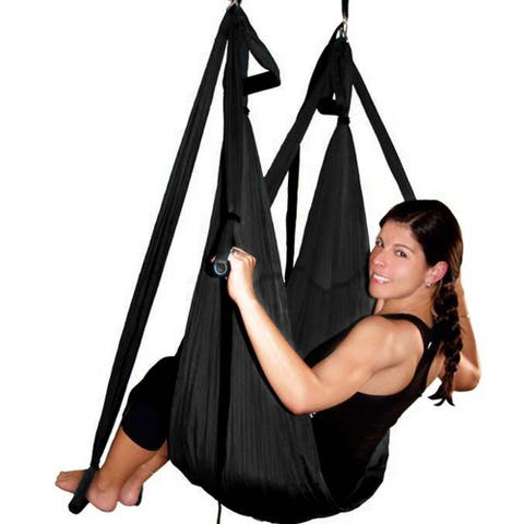 Image Yoga Swing Inversion Sling Trapeze Yoga Hammock Flying Antigravity Black - SIZE
