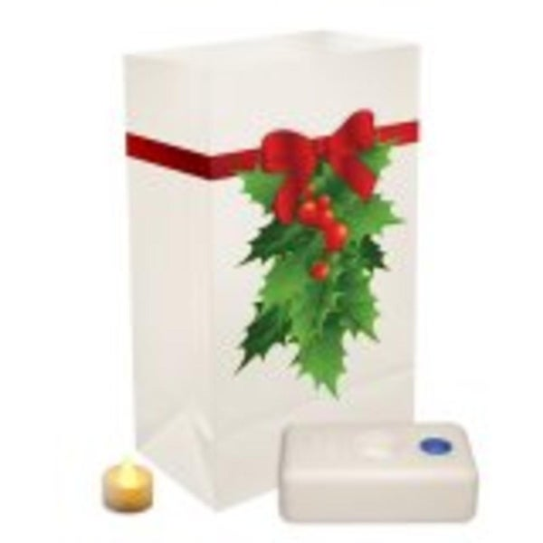Pack of 12 Battery Operated LED Flameless Tea Candles Christmas Holly Luminaria Kit
