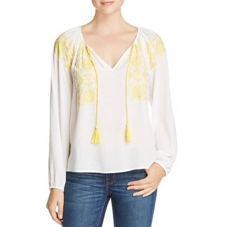 Sanctuary Womens Sunflower Blouse Embroidered Textured
