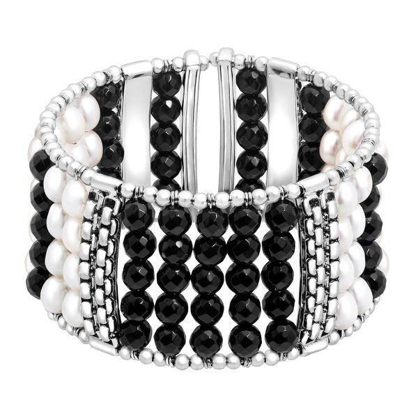 Honora Freshwater Pearl & Onyx Bead Cuff Bracelet in Sterling Silver