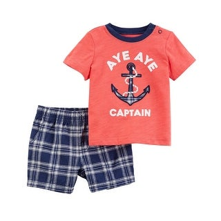 Carter's Baby Boys' 2-Piece Jersey Tee & Plaid Short Set, 3 Months