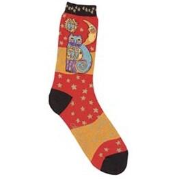 Celestial Cat - Orange - Laurel Burch Socks