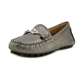Coach Arlene Women Moc Toe Leather Silver Loafer