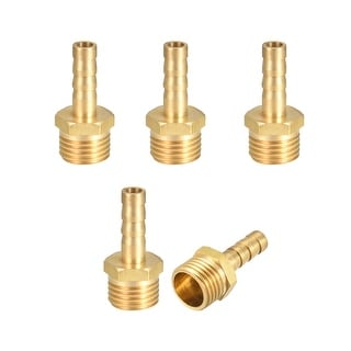 "Brass Barb Hose Fitting Connector Adapter 6mm Barbed x 1/4"" G Male Pipe 5pcs - 1/4"" G x 6mm"