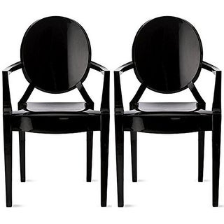 2xhome Set of Two (2) Black Modern Ghost Chair Armchair With Arm Polycarbonate Plastic