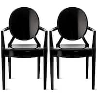2xhome Set of 2 Black Modern Plastic Chair Armchair With Arm Polycarbonate Plastic