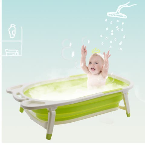 Gymax Green Baby Folding Bathtub Infant Collapsible Portable Shower