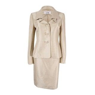 Le Suit Women's Plus Size Three-Button Shantung Skirt Suit - 22W