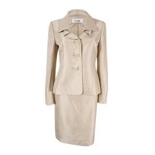 Le Suit Women's Three-Button Shantung Skirt Suit - Champagne