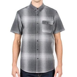 Volcom NEW Gray Mens Size XL Button Down Plaid Short-Sleeve Shirt