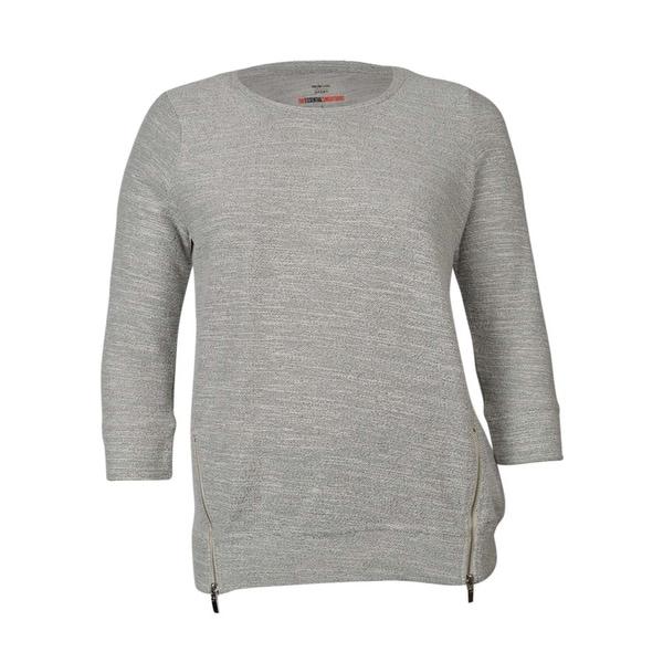 9f548b49a Style & Co. Women's Zip Hem Knit Cotton Blend Sweater - Black/Natural - L
