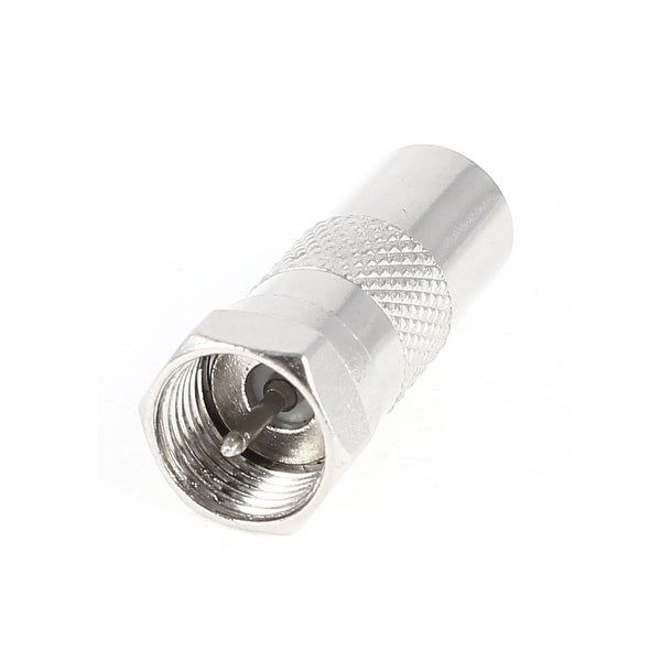 Silver Tone Straight Metal F Type Male to TV PAL Male RF Connector
