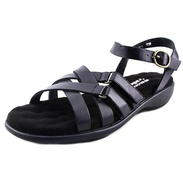 Walking Cradles Sleek Women WW Open Toe Leather Black Slides Sandal