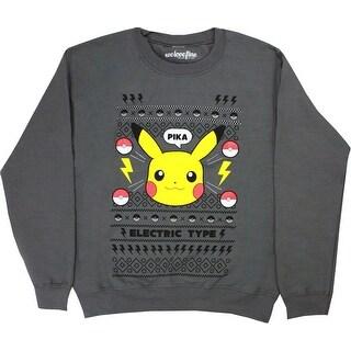 Pokemon Pikachu Christmas Men's Gray Sweater