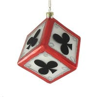 "3"" Clubs Dice Casino Gambling Glass Christmas Ornament - black"