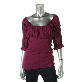 Catherine Malandrino Womens Pointelle Scoop Neck Knit Top - S