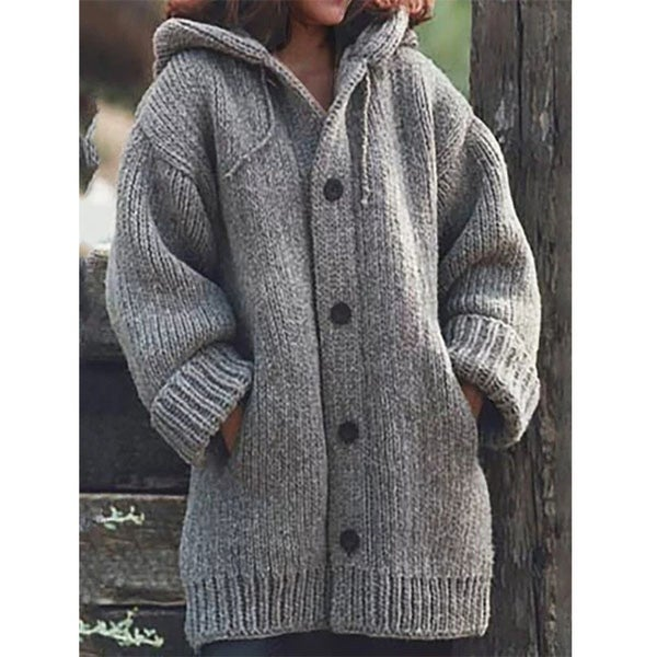 Button Down Hooded Knitted Cardigan Plus Size Outerwear. Opens flyout.