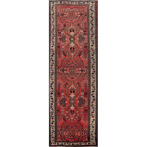 "Vintage Floral Hamedan Persian Runner Rug Wool Hand-knotted Carpet - 3'8"" x 10'1"""