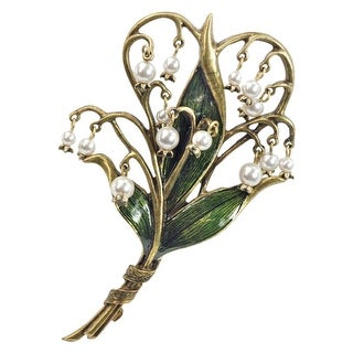 "Sweet Romance Women's Lily of the Valley Brooch Pin with Cultured Seed Pearls - 4"" x 2 1/2"""