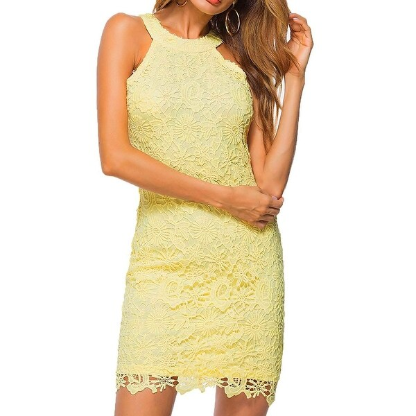 ce21e8d68c59e Lamilus Yellow Womens Size Small S Lace Halter Neck Sheath Dress