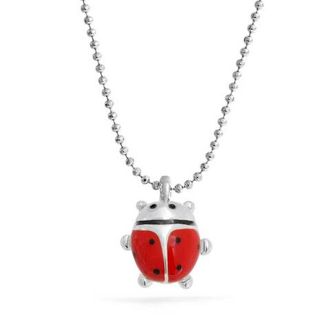 Red Lucky Ladybug Small Enamel Pendant Silver Tone Rhodium Plated Necklace For Women 16 Inches