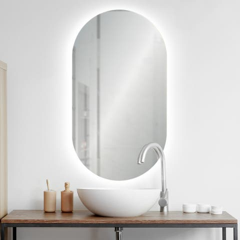 Renwil Kato LED Oval shaped Wall Mirror - Clear - Large