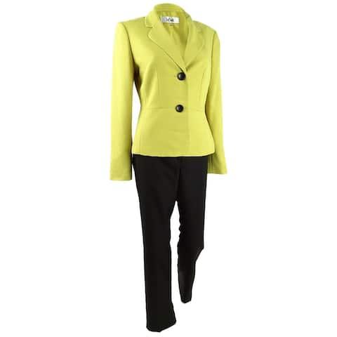 Le Suit Women's Two-Button Pantsuit (4, Citrine/Black) - 4