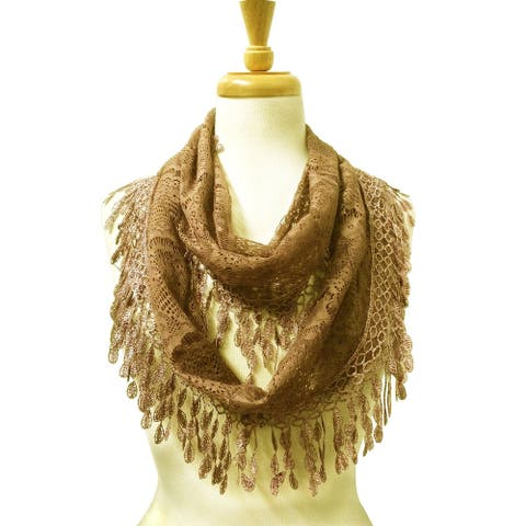 """Delicate Lace Sheer Infinity Scarf with Teardrop Fringes - length 64"""" width 11"""""""