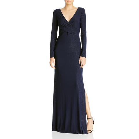 Laundry by Shelli Segal Womens Evening Dress Shimmer Side Slit - Navy/Silver